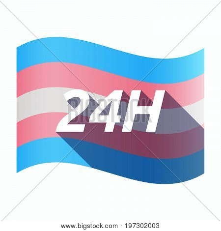 Isolated Transgender Flag With    The Text 24H