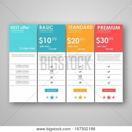 set pricing table, order, box, button, list with plan for website in flat design