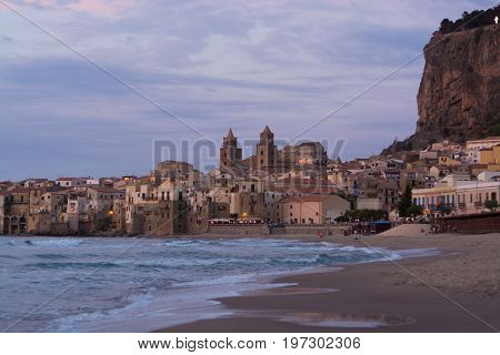 Touristic And Vacation Pearl Of Sicily, Small Town Of Cefalu, Sicily, South Italy, Sea View