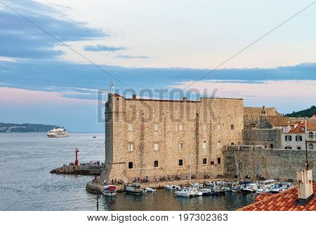 Saint John Fort And Sailing Boats At Old Port Dubrovnik