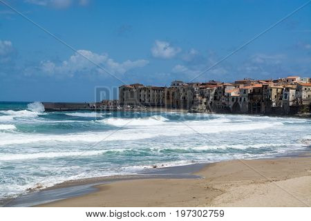 Touristic and vacation pearl of Sicily small town of Cefalu at sunrise Sicily south Italy sea view