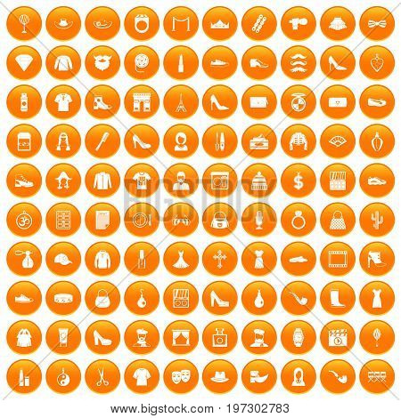 100 stylist icons set in orange circle isolated on white vector illustration