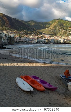 Touristic And Vacation Pearl Of Sicily, Small Town Of Cefalu, Sicily, South Italy