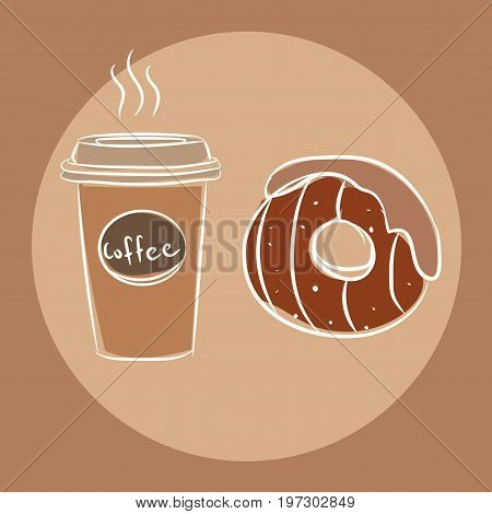 Coffee Cup And Donut Cute Valentines Day Illustration, Greetings Card. Sketch Style Donut. Donut For