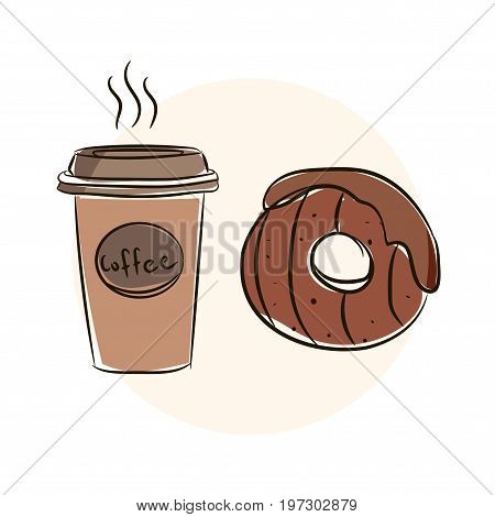 Beautiful Hand Drawn Vector Illustration Donut. Sketch Style Donut. Donut For Your Design. Vector Fl