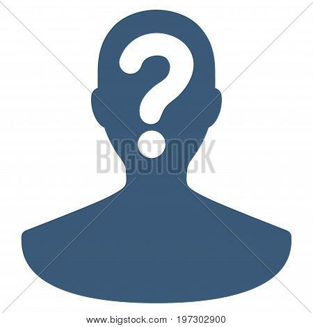Unknown Person vector icon. Flat blue symbol. Pictogram is isolated on a white background. Designed for web and software interfaces.