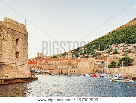 Sailing Boats And Saint John Fort And Old Port Dubrovnik