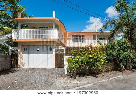 Blue Bay Mauritius - December 28 2015: House located at Blue Bay Mauritius. Blue Bay is a small village on the south-eastern coast of Mauritius near Mahebourg.