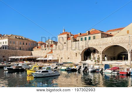 Sailboats At Old Port In Dubrovnik