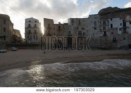 Touristic And Vacation Pearl Of Sicily, Boats En Small Town Of Cefalu, Sicily, South Italy
