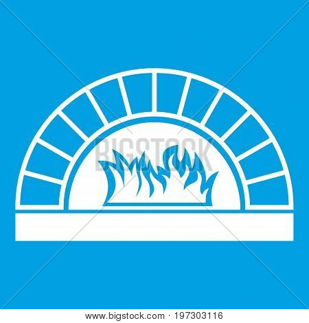 Pizza oven with fire icon white isolated on blue background vector illustration
