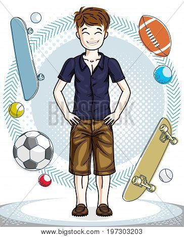 Child young teen boy cute standing in stylish casual clothes. Vector attractive kid illustration. Childhood lifestyle clip art.