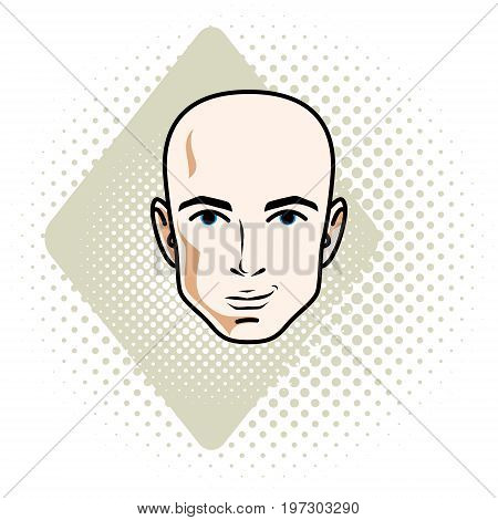 Man face human head. Vector character handsome bald male.