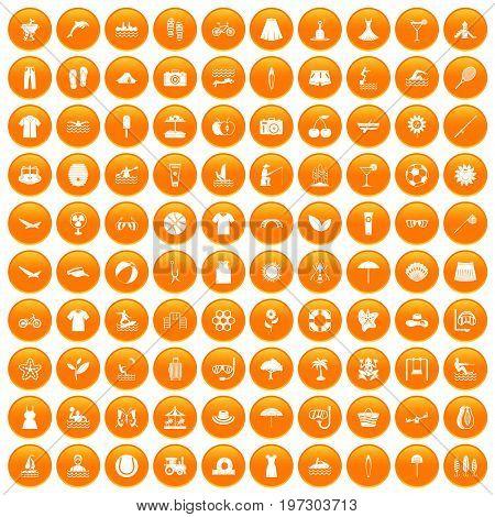 100 summer icons set in orange circle isolated on white vector illustration