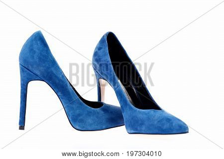 Pair Of Blue Suede High Heel Shoes, Side View