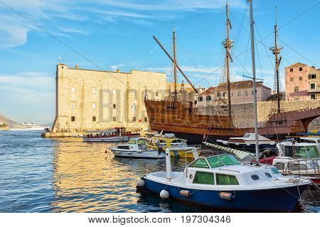 Old Port And Saint John Fort In Dubrovnik