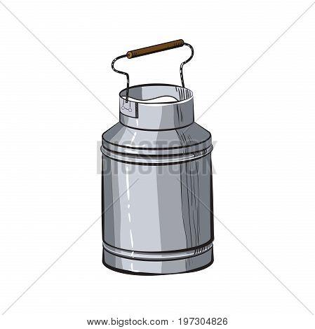 Color Sketch Can of milk. Fresh milk - country style vector sketch. Vintage aluminium milk.