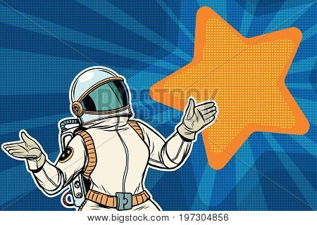 Female astronaut opened his arms dream star background. Pop art retro vector illustration