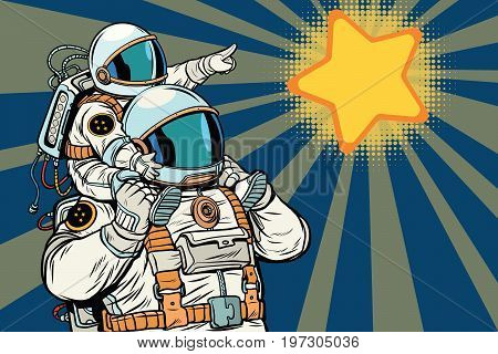 Astronauts family, child and father. daughter or son in the suit. Pop art retro vector illustration