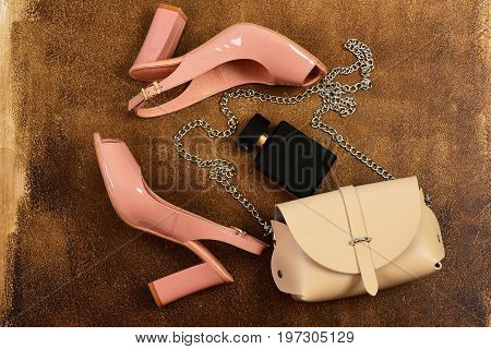 Pair Of Shoes In Pink Colour With Handbag And Perfume