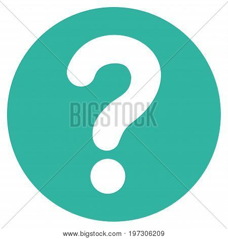Query vector icon. Flat cyan symbol. Pictogram is isolated on a white background. Designed for web and software interfaces.