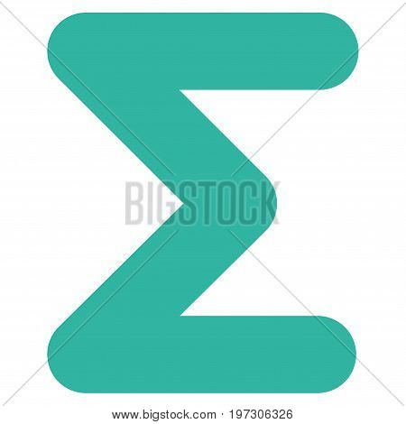 Sum vector icon. Flat cyan symbol. Pictogram is isolated on a white background. Designed for web and software interfaces.