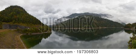 Sylvenstein lake on a gloomy autumn day. Germany