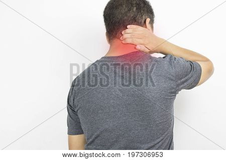 man has neck ache and hand touch with pain