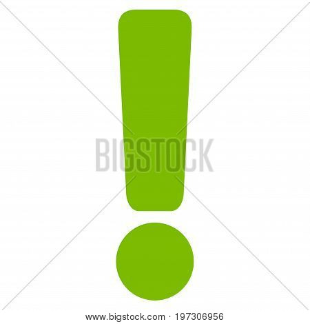Exclamation Sign vector icon. Flat eco green symbol. Pictogram is isolated on a white background. Designed for web and software interfaces.