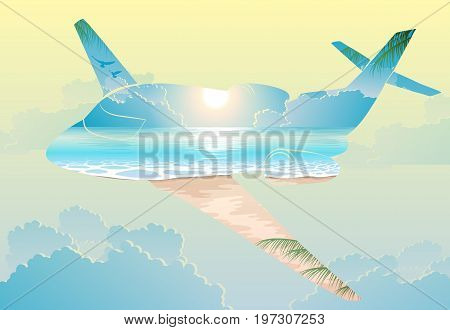 Double exposure, airplane flight on exotic islands, travel concept, cloudy blue sky travel background, vector illustration