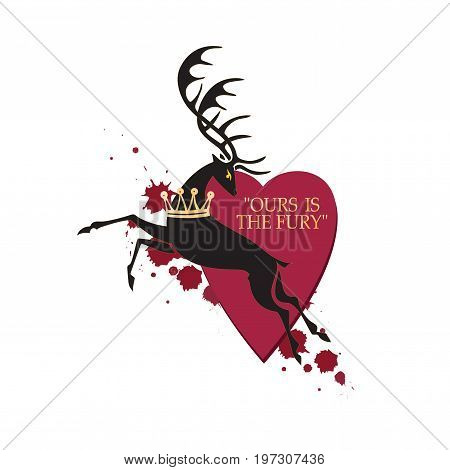 Royal deer on a background of hearts. Vector image with text. Design banners, icons for website, printed onto fabric or paper. The element of graphic design the printing on t-shirts.