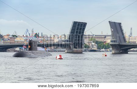 Submarine Stand On Neva River