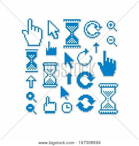 Set of vector retro cursor signs made in pixel art style. Simplistic arrows pointing at different directions. Geometric pixilated symbols like pointers and hourglasses.