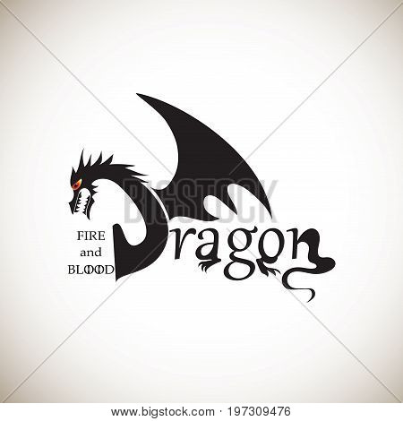 BLACK DRAGON. The word dragon. Stylized inscription. Handwritten phrase. The element of graphic design the printing on t-shirts. Vector image. Sign, logo for printing on fabric or paper.