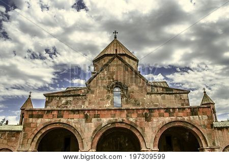 View of the arched portal with the bells of the church the martyr Gayane in Etchmiadzin