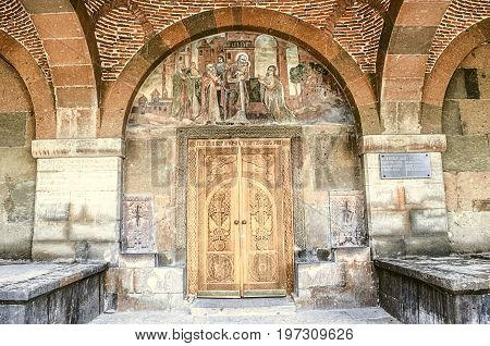 Fresco of the Birth of Christ above the entrance doors in the temple of the Martyr Gayane in Echmiadzin