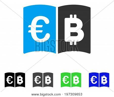 Euro And Bitcoin Catalog flat vector icon. Colored euro and bitcoin catalog gray, black, blue, green pictogram variants. Flat icon style for graphic design.