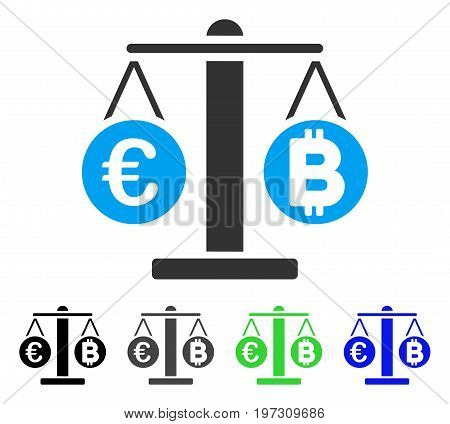 Euro And Bitcoin Scales flat vector icon. Colored euro and bitcoin scales gray, black, blue, green pictogram variants. Flat icon style for application design.