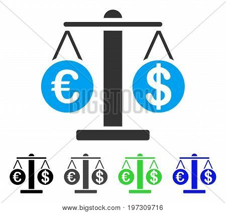 Euro And Dollar Scales flat vector pictograph. Colored Euro and dollar scales gray, black, blue, green icon versions. Flat icon style for application design.