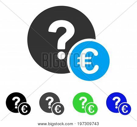 Euro Balance Query flat vector icon. Colored Euro balance query gray, black, blue, green icon variants. Flat icon style for graphic design.