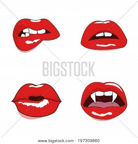 Woman Lips Set. Mouth With A Kiss, Smile, Tongue. Vector Illustration Isolated On White Background.