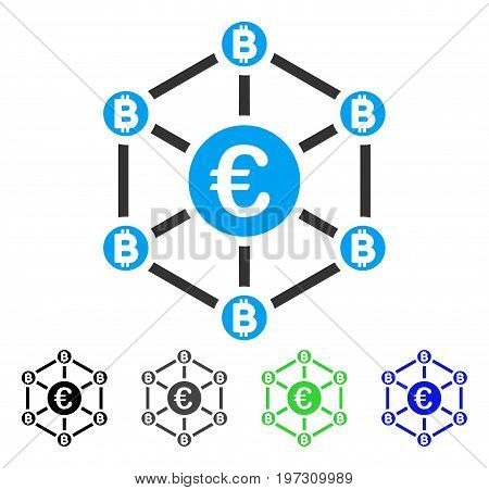 Euro Bitcoin Network flat vector illustration. Colored Euro bitcoin network gray, black, blue, green icon variants. Flat icon style for application design.