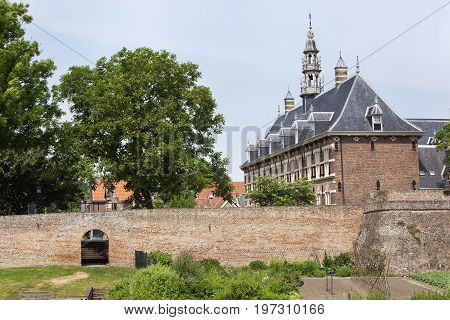 Old city wall fortification of Buren in the Netherlands
