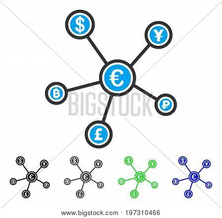 Euro Financial Network flat vector illustration. Colored euro financial network gray, black, blue, green icon versions. Flat icon style for graphic design.
