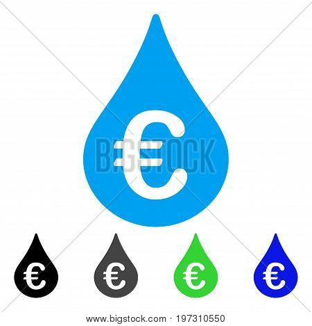Euro Fuel Drop flat vector icon. Colored Euro fuel drop gray, black, blue, green icon variants. Flat icon style for web design.