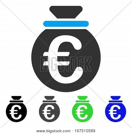 Euro Fund flat vector pictograph. Colored Euro fund gray, black, blue, green icon variants. Flat icon style for application design.