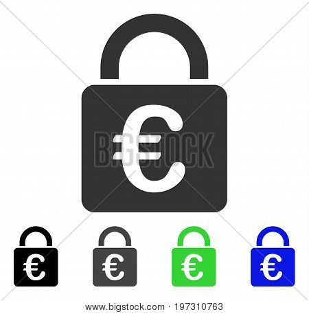 Euro Lock flat vector icon. Colored Euro lock gray, black, blue, green icon variants. Flat icon style for web design.