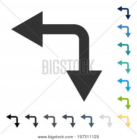 Bifurcation Arrow Left Down icon. Vector illustration style is flat iconic symbol in some color versions.