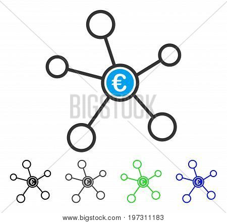 Euro Network flat vector icon. Colored euro network gray, black, blue, green icon variants. Flat icon style for graphic design.