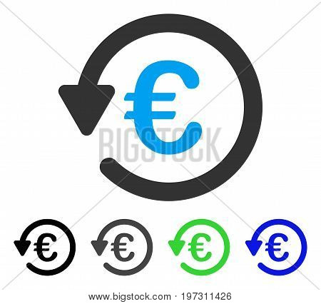 Euro Rebate flat vector icon. Colored Euro rebate gray, black, blue, green icon versions. Flat icon style for graphic design.